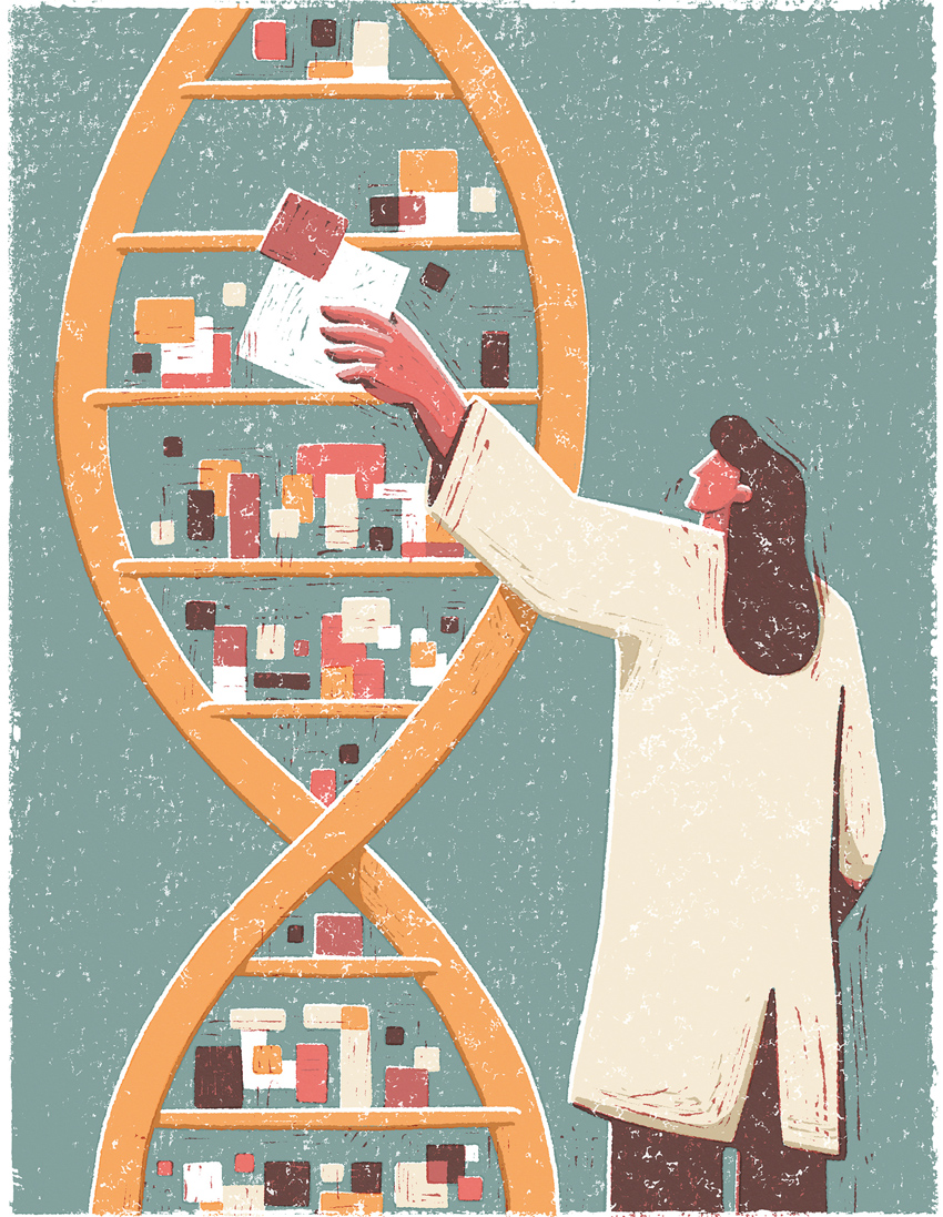 Illustration of a woman storing pixels on a DNA sequence.