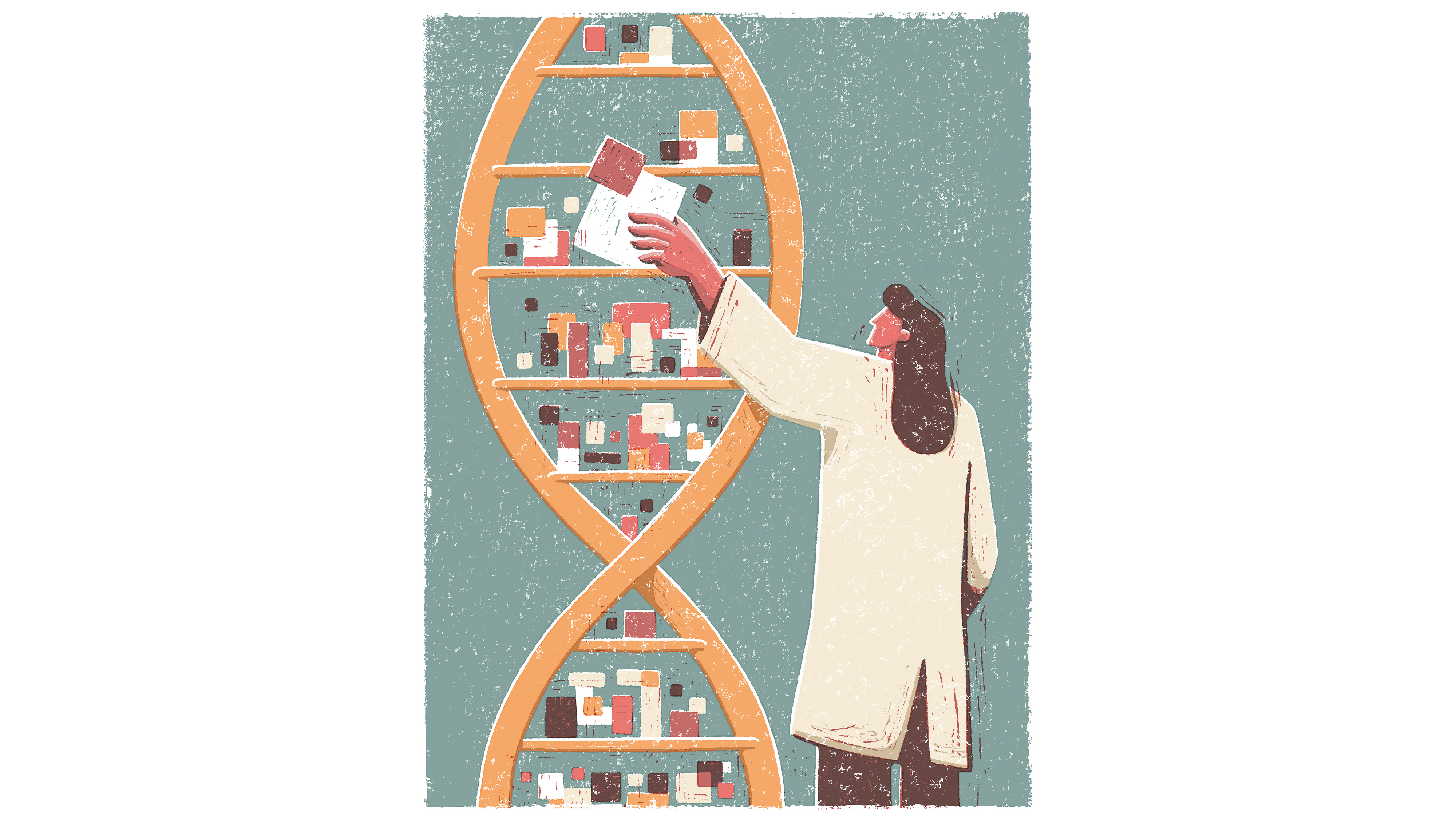 illustration of a woman placing pixels into a shelf made of a DNA sequence